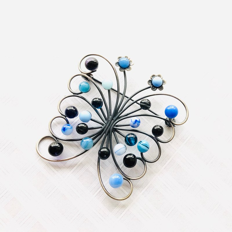 Free shipping glass brooch Papillon Blue