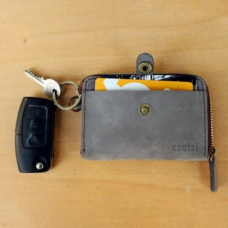 Key Case - F1 (Light Grey) / Key Holder / Key Ring / (Genuine Cow Leather)