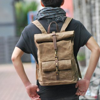 GENUINE LEATHER & WAXED CANVAS  ROLL TOP BACKPACK / WATERPROOF BACKPACK