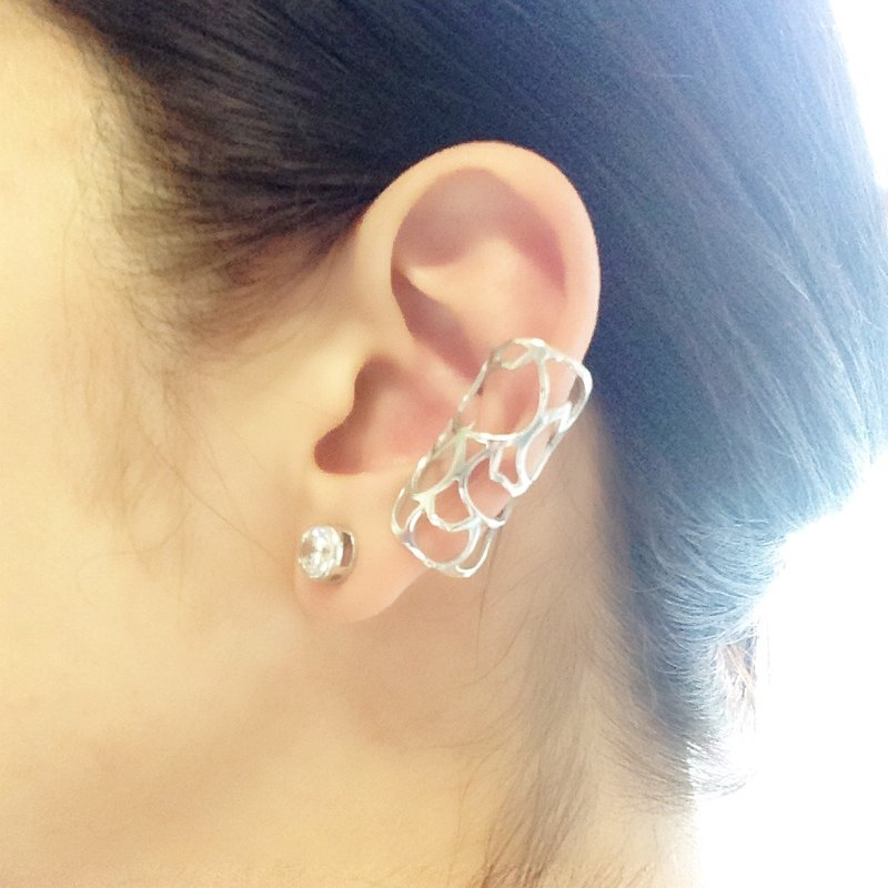 Ear cuff / Midi ring: Silver 950 cats design