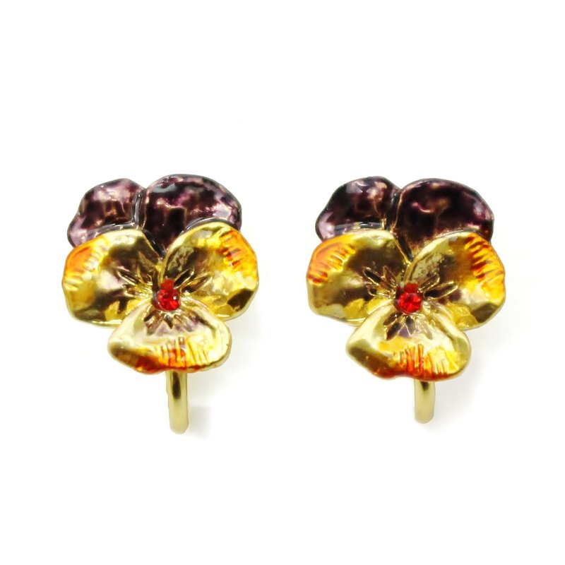 Pansy Clip Earring GD / Pansy Earrings gold color EA 073 GD
