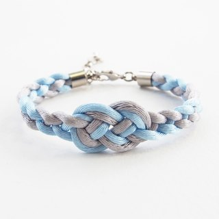 Light gray/Light blue infinity braided bracelet