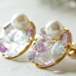 Rainy-colored natural stone and pearl earrings / earrings