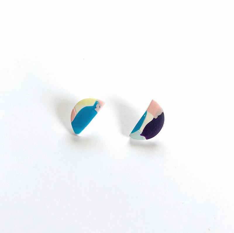 Hand made polymer clay stud earrings pastel colour Mini half circle shape
