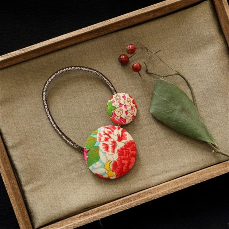Celebration Ornament Happy hair ornament Kimono hair rubber Premium Peony Bun Umebun Silk