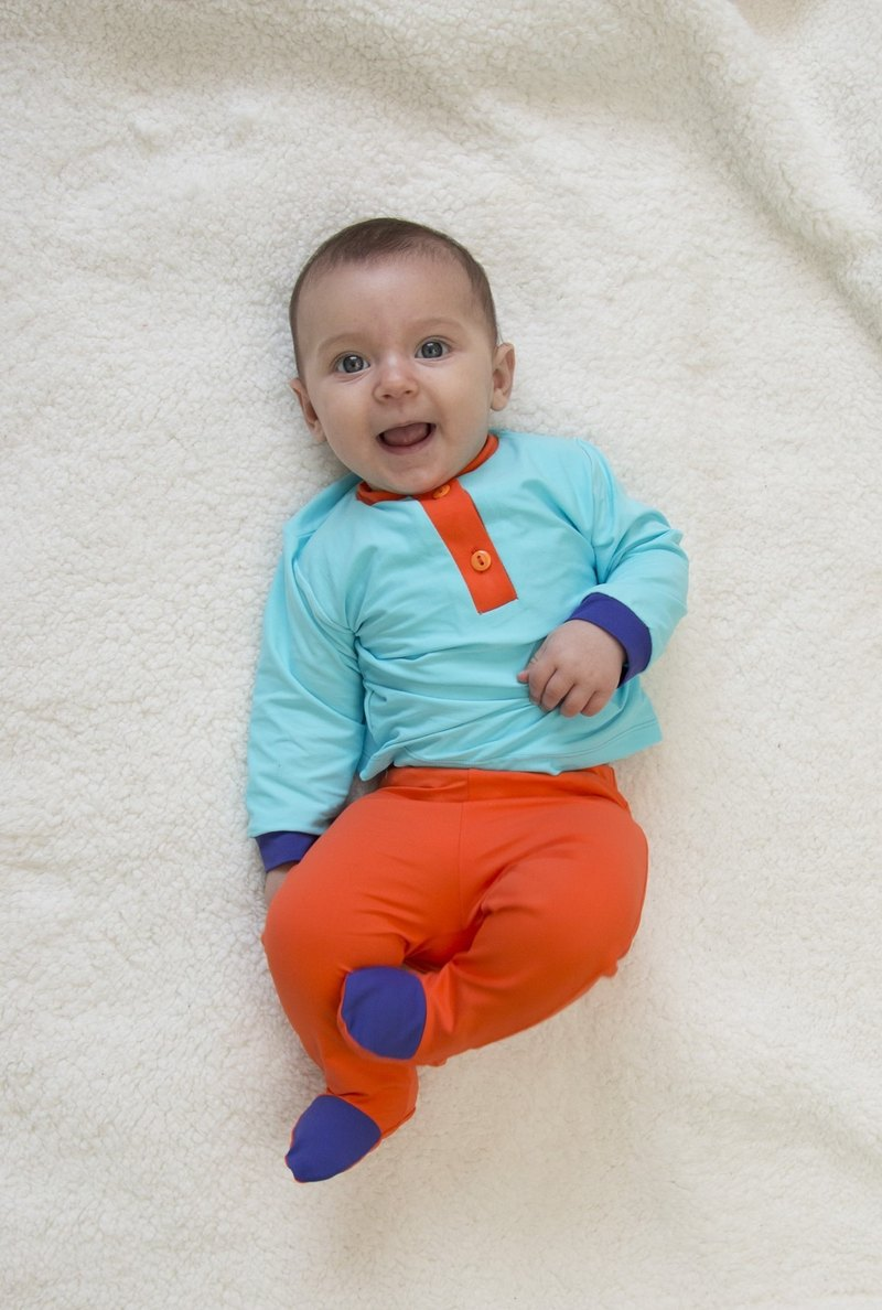 SanBelle Baby Long T-shirts★Permanent skin protection★0-12m Calypso×Orange