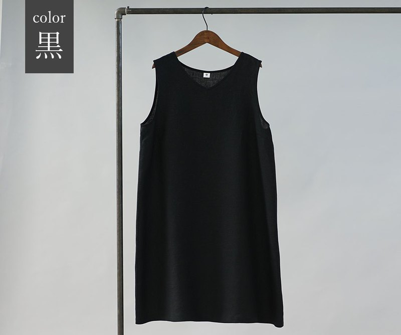 wafu  linen petticoat / dress / V-neck / sleeveless / black p006a-bck1