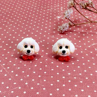 White Toy Poodle dog Earrings with red ribbon, Dog Stud Earrings