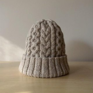 Alan knit hat, oatmeal knitted hat Made to order production