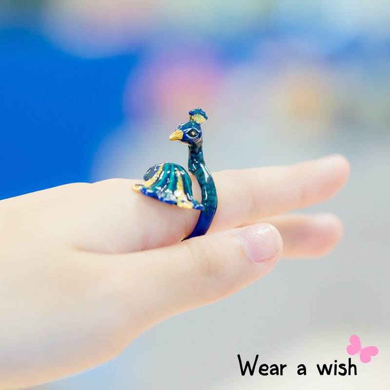 PeaCock Bird Hand Painting FreeSize Ring (Enamel, Adjustable Ring, SlowLife)