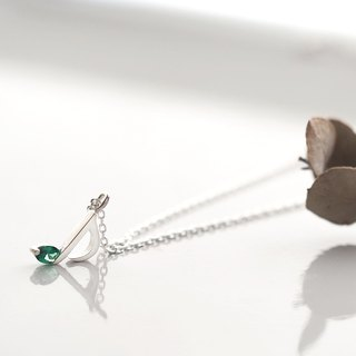 Emerald eighth note necklace Silver 925