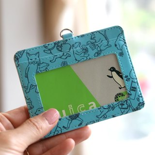 Pass case cat cat full of frogs (blue)