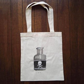 Hand-painted one point cotton bag Dokubin illustrations