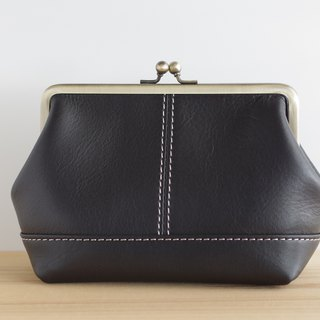 Square leather pouch (L) black