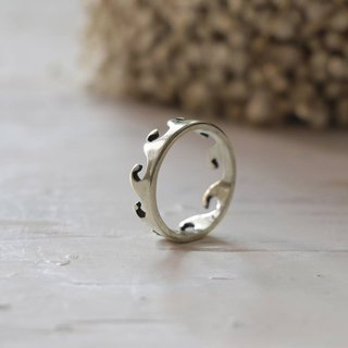 Minimal ring wave thorn crown handmade lady women Girl silver sterling Hawaii