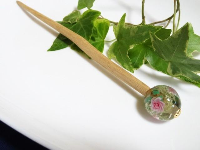 Dragonfly ball rose hairpin