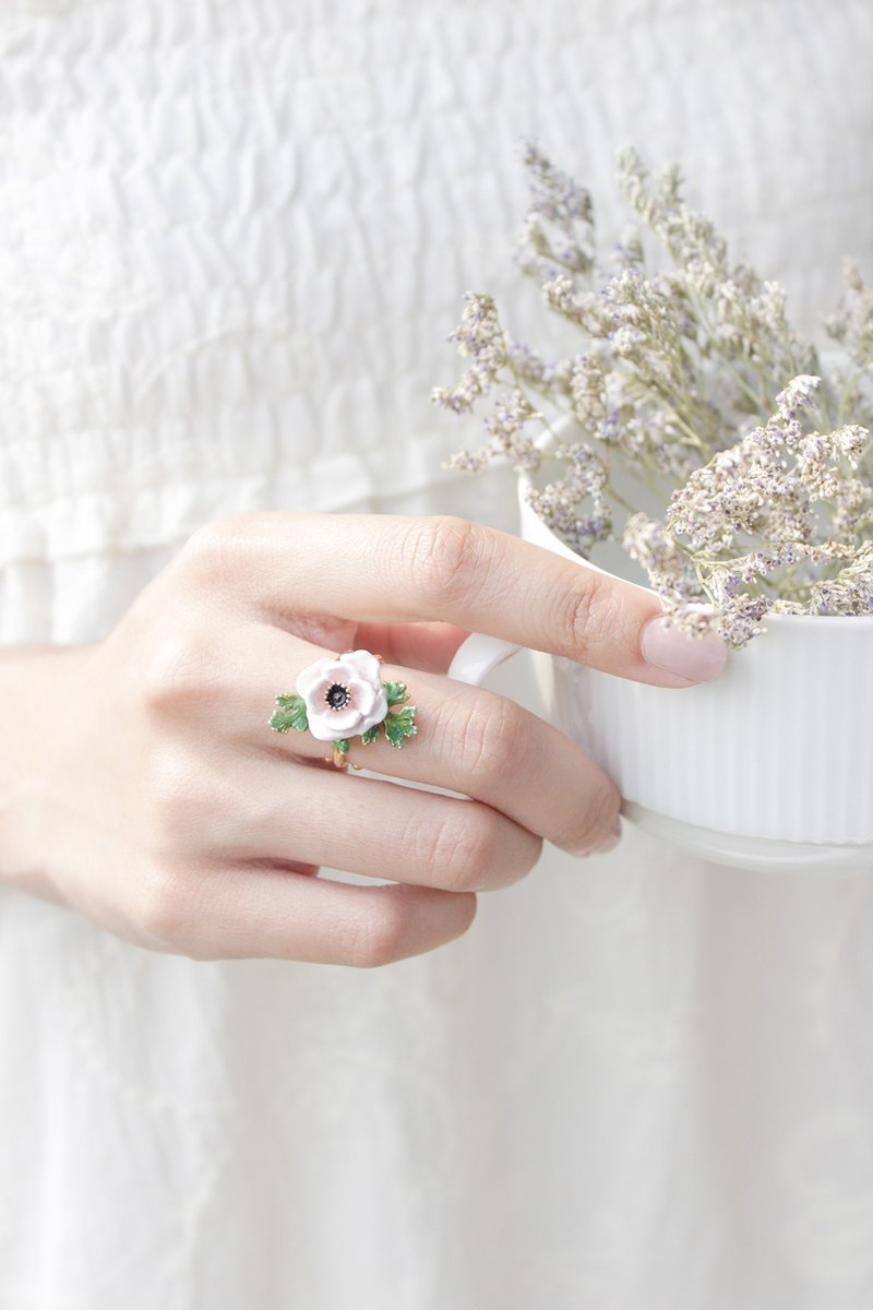 Anemone Ring , Flower Ring , Handpainted GOODAFTERNINE