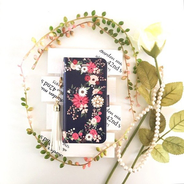(pajour) navy retro botanical flower garden notebook type case [autumn winter] [floral design]