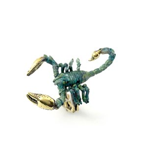 Zodiac Scorpio ring is for Scorpio in Brass and Patina green color ,Rocker jewelry ,Skull jewelry,Biker jewelry
