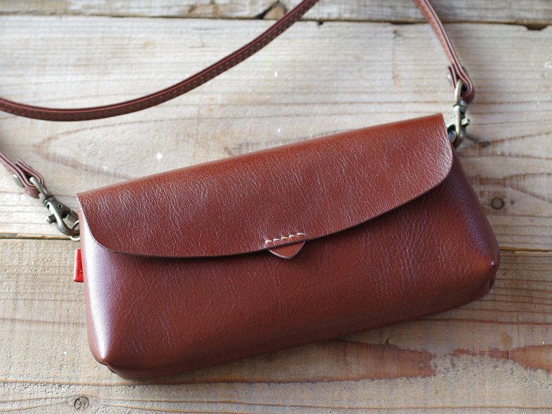 【Free Shipping】 Leather Pouch Wallet chocolate brown