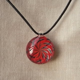Geometric pattern Pendant red and Black Glass Handmade