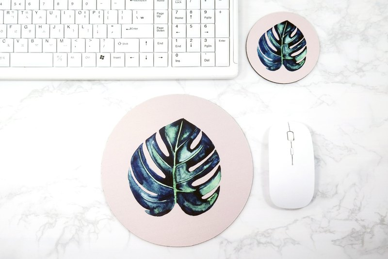 Monstera Mouse pad Green Leaf Coaster Little Botanical Posters Set