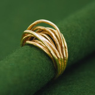 Japanese gold ring - Linear texture ring - Adjustable design - Branch nature