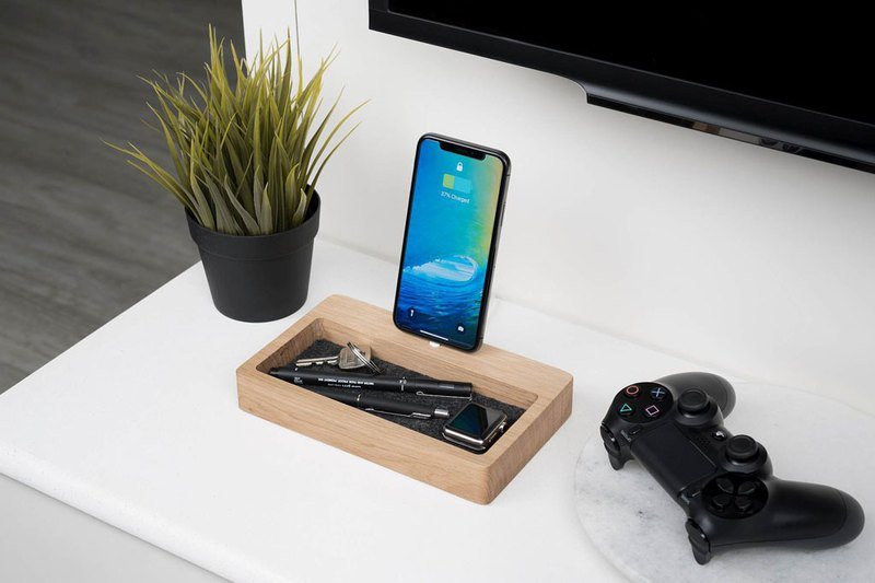 OAK IPHONE DOCK ORGANIZER, Handcrafted iPhone charging station with organizer