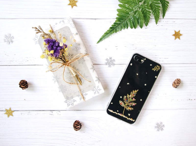 青白圣诞树 • Christmas Tree Handpressed Flower Phone Case