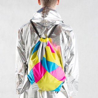 Silver Yellow Patchwork Drawstring Waterproof Backpack