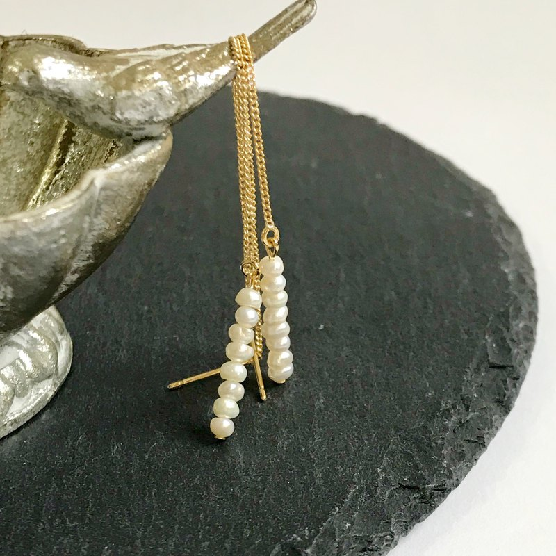 Gold threader earring with freshwater pearls