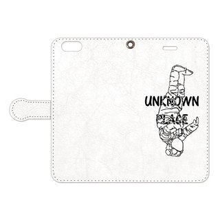 [Handbook type iPhone case] Unknown place (Black & Chrome)