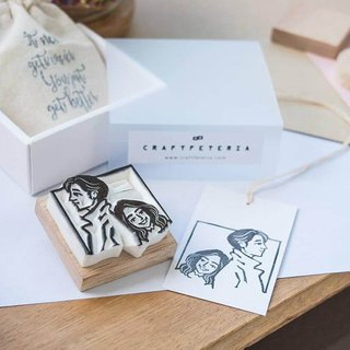Couple portrait rubber stamp (L)