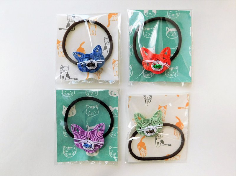 Mizuhiki cat hair elastic color: orange / blue / purple / light green