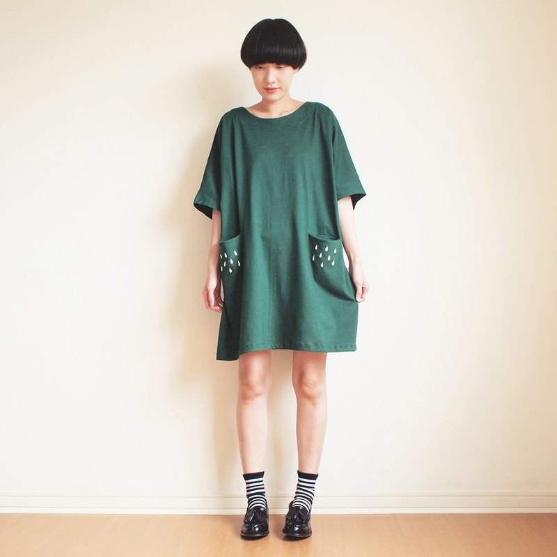 rainy pocket dress : green