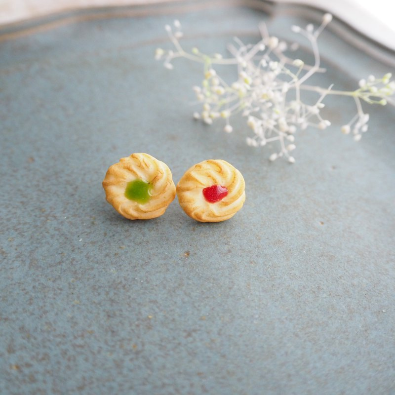 Persimmon jam and melon jam cookie earrings