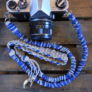 Faded Denim Tear Cloth Hemp Hemp Camera Strap / Belt
