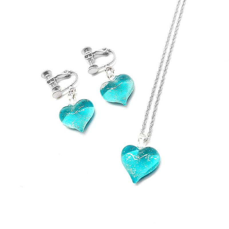 Handcrafted glass jewelry heart shape soft blue color