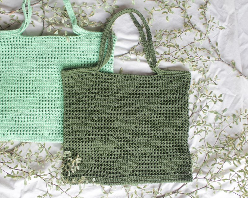 Lime /Green Too Heart Pattern ,Personalized Pixel Arts Crochet Tote Bag