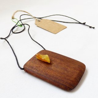 Wood Mahogany Baltic Amber Handmade Folk Art Unisex Wooden Pendant Necklace