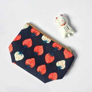 Strawberry Coin Purse • Strawberry Small Zipper Pouch, Strawberry, Red, White, Navy, Cute Zip Purse, Small Gifts