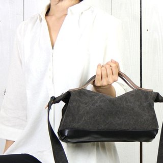 nomad-mini - cloth tannin dyed canvas × bamboo leather bag