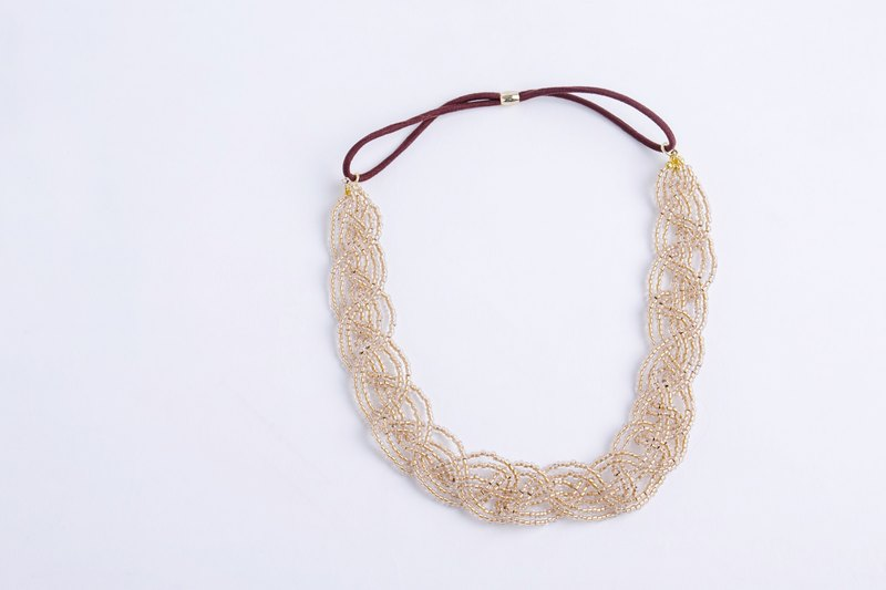 beads headband clear gold wide