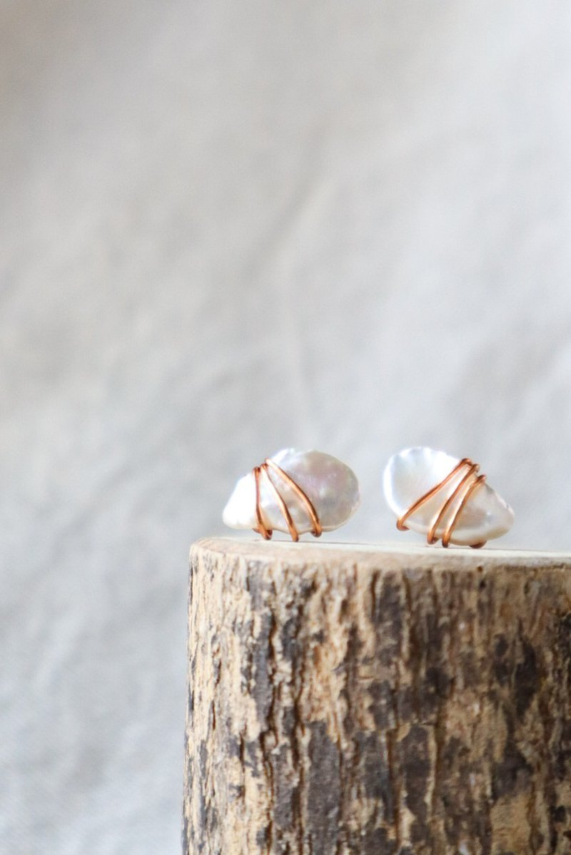 Stunning BIWA freshwater Pearl wrapped with Rose gold wire Stud earrings
