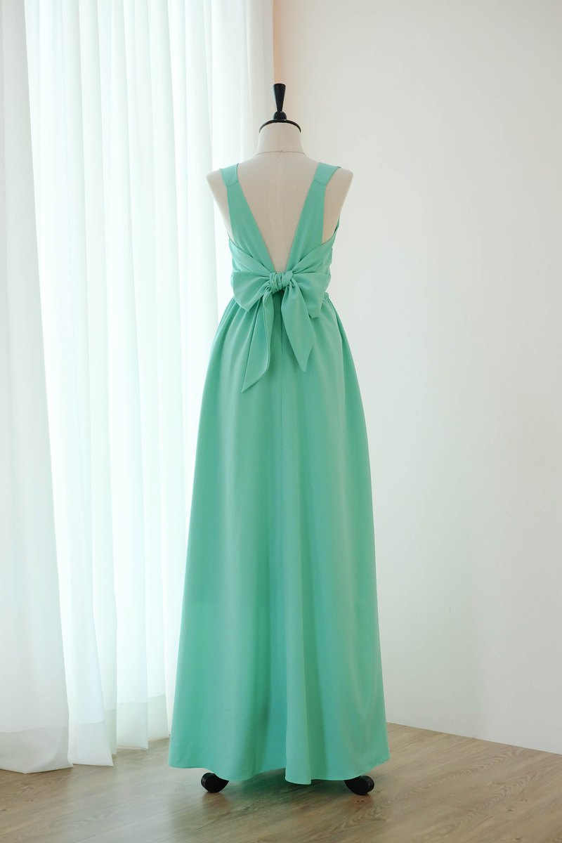 Mint Green Dress Bridesmaid backless party Cocktail dress