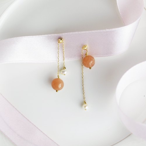 SUNSTONE BELL EARRING 太阳石珍珠耳环