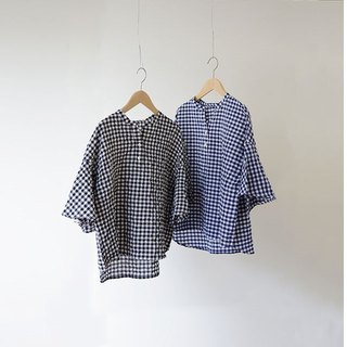 Shirring gingham tunic 8812-4016