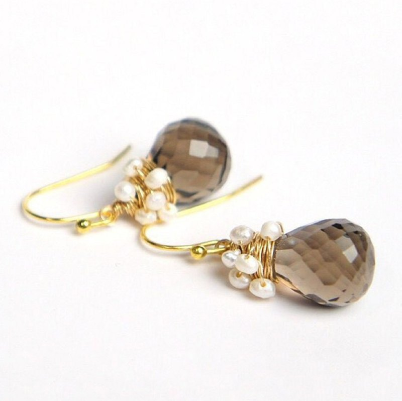 Smoky Quartz and Freshwater Pearl Wire Art Earrings 14kgf