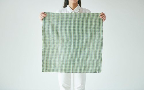 Linen cotton dyed check squared cloth green × blue