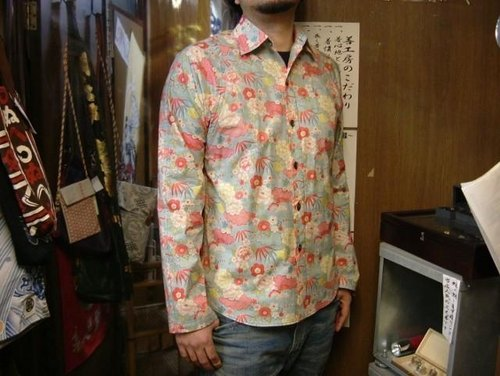 Long-sleeved shirt Japanese Pattern (flowers in Kumoto)